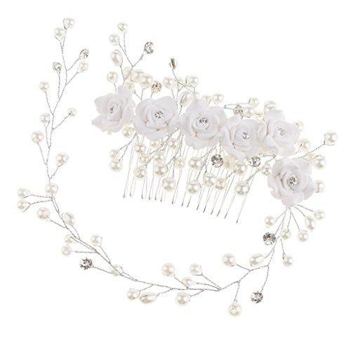 Sharplace Strass Haarkamm Haarschmuck Hochzeit Zubehör Haarspangen Haarklammern für Brautfrisur Kommunion Konfirmation Taufe Party - Rose Blumen