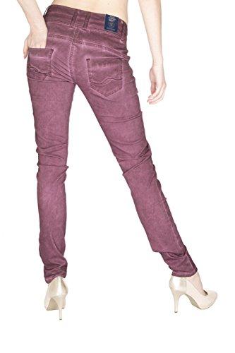 Blue Monkey Damen Skinny Jeans mit offener Knopfleiste Dale-2 Blackberry Blackberry