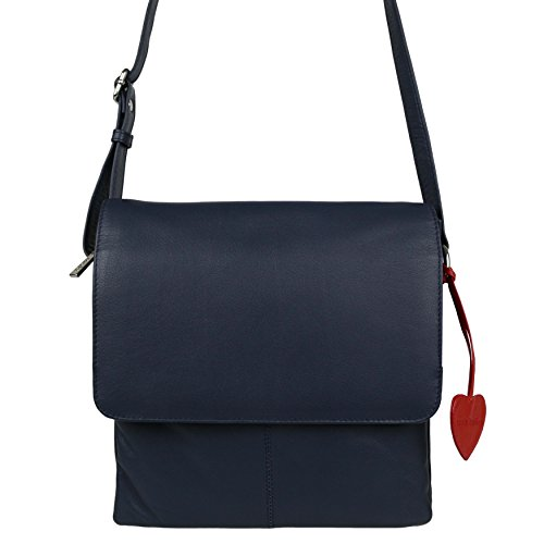 Mala Leather, Borsa a tracolla donna viola Purple Navy