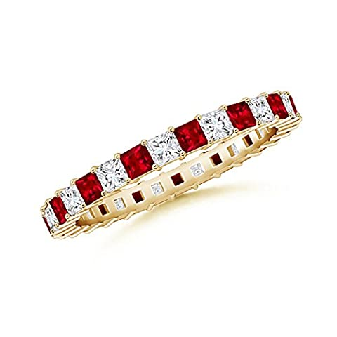 Shared Prong Square Ruby and Diamond Eternity Band in 14K Yellow Gold (1.8mm Ruby)