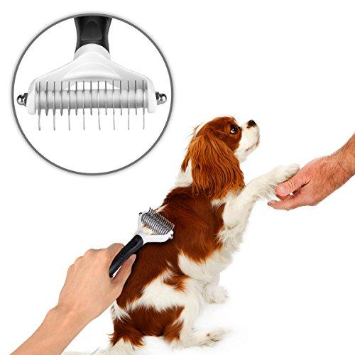 Auskio Fellpflege Hundebürste, Katzebürste, Unterwollbürste für Hunde&Katzen mit Mittel -bis Langhaar - 5