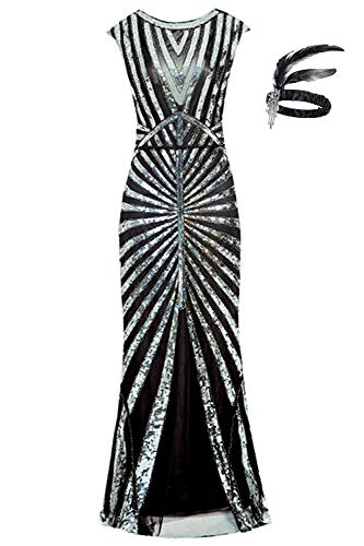 ten Meerjungfrau Formale Lange Flapper Kleid große Gatsby Party Abendkleid (M (EU 38-40), schwarz) ()
