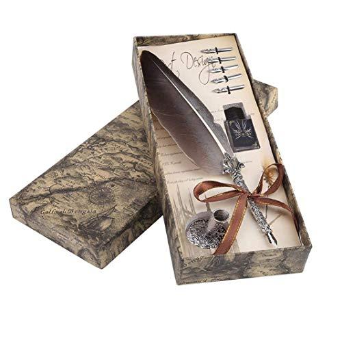 Xrten Vintage Federstift Set,Feather Tinte Feather Pen Set mit 5 Pen Nib für Briefpapier Geschenk(Schwarz)
