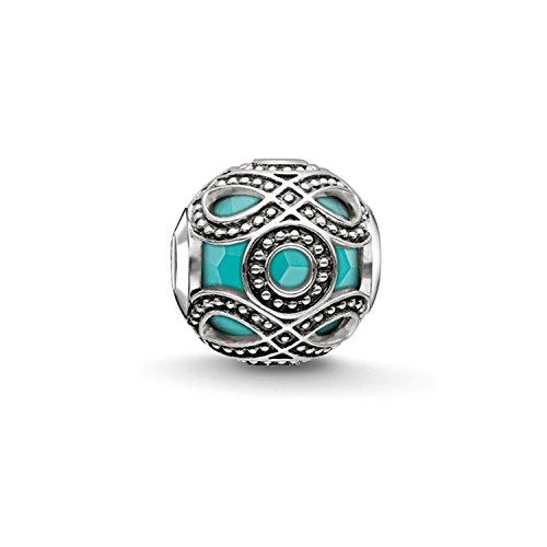 Thomas Sabo Damen-Bead Ethno Karma Beads 925 Sterling Silber geschwärzt imitierter Türkis K0209-878-17