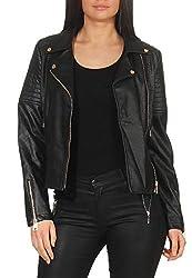 Malito Damen Jacke   Kunstleder Jacke   Jacke mit Zipper   lässige Bikerjacke - Faux Leather 5177 (schwarz, S)