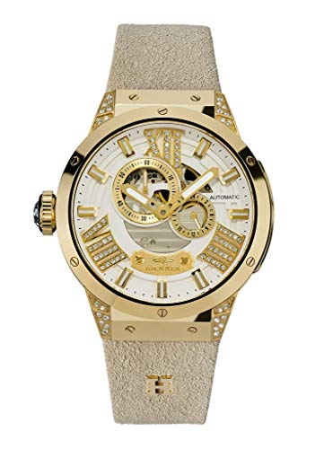 HÆMMER Delight Goldene Damenuhr aus Edelstahl | Exklusiv Limitierte Damen-Uhr mit Armband aus Kalb-Nubukleder | Veredeltes Edelstahlgehäuse mit 112 Kristallen | Kratzfestes Saphirglas