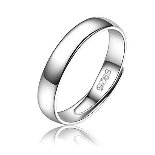 iBegem Fingerring Herren aus Silber 925, Verstellbar Ring Zum Öffnen für Damen MännerJungen, Nickelfrei Schmuck mit - Armband Und Für Männer Ring Silber