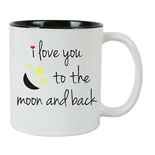 banytree Kaffeetasse mit Aufschrift I Love You to The Moon and Back, inkl. Geschenkbox, tolles Geschenk für Geburtstage, Valentinstag und Weihnachten