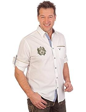 Krüger Dirndl H1616 - Trachtenhemd mit Langem Arm - Arne - Weiß, Größe S