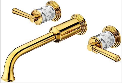 LINA-Rame placcato doppio split doppio controllo pannello montato a parete Kitchen faucet