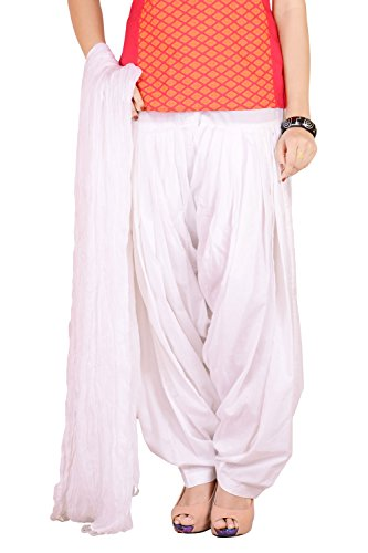 Traditional 2 Trendy Women\'s Cotton Full Gher Layered Patiala and Dupatta Set (T2TSP01CRX, White , Free Size)
