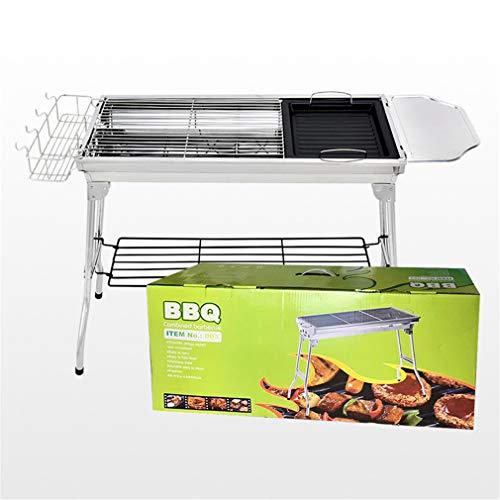 Rfsbqlcs Tragbare Barbecue Grill Faltbare Holzkohlegrill Set Edelstahl, rauchfrei Grill für Kochen im Freien Camping Picknick BBQ Party Folding Utensil Set