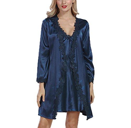 Printemps 2017 Mme Sexy Soie Costume Robe blue