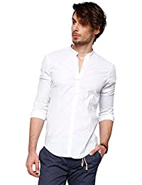 Chemise blanche homme col mao manches longues M5018