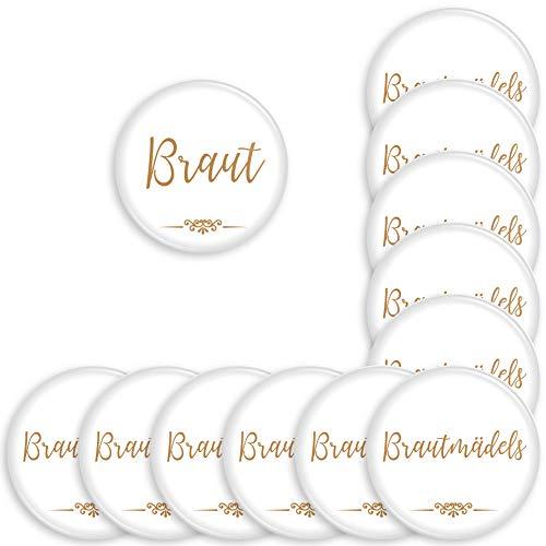 Werbewas 12er Set runde Buttons für feierliche Anlässe - Hochzeit - Junggesellenabschied / JGA Party - Trauung (38mm) Motiv Brautmädels - Gold mit Nadel-Anstecker