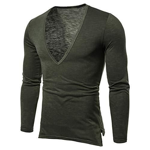 Makefortune Langarm-T-Shirts mit tiefem V-Ausschnitt für Herren Lässige Kleidung Oberteile Hemden Blusenpullover Slim Fit Plus Size