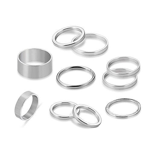 DaoRier 10pcs Silber Ringset Schmuck Orientalisches Damen Ringe Fingerring-Set
