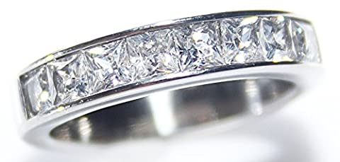 Ah Jewellery! Classy Simulated Diamonds Princess Cut Band. 4.7gr Total Weight. 4mm Total Width. Stainless Steel. Stamped 316. Never Tarnish. Outstanding
