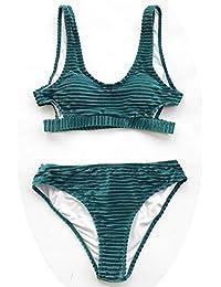 cb8a2a5cf3bb Bikini in Velluto Verde Smeraldo Solido Set Donna Ritaglio in Due Pezzi  Estivi Swimwear 2019 Costume da Bagno in…