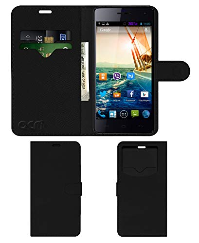 Acm Leather Window Flip Wallet Front & Back Case for Micromax Knight A350 Mobile Cover Black