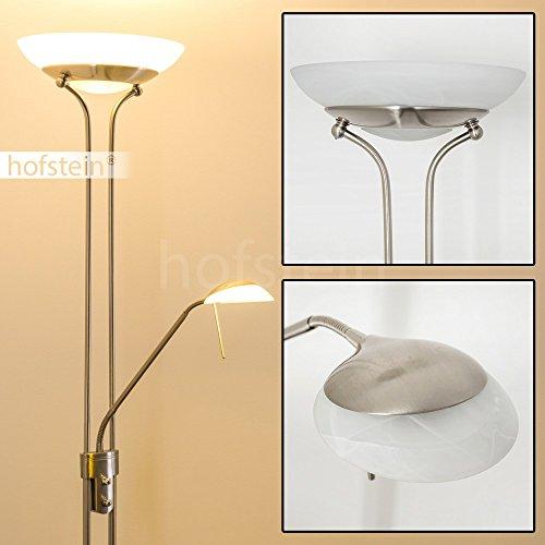 Biot LED Deckenfluter nickel Fluter 18 Watt 1600 Lumen und Leseleuchte 5 Watt 450 Lumen 3.000 Kelvin