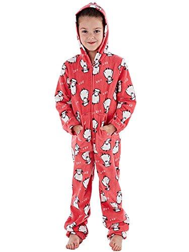 e71ee5852a Selena Girl - Pijama de una Pieza - Manga Larga - para niña Rojo Coral Sheep