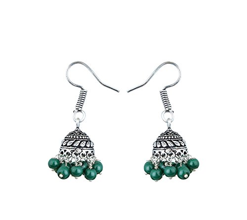 Waama Jewels Traditional Green Brass Jhumki earrings for Women/Girls  available at amazon for Rs.51