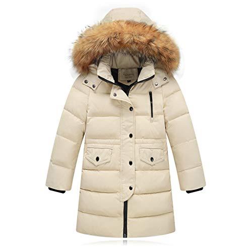 Riou Kinder Baby Lang Daunenjacke mit Pelz Ultraleicht Wintermantel Winter Warme Jungen Mädchen Jacke mit Kapuze Hochwertig Schön Parka Mantel (150, Beige)