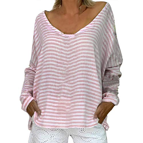 Dorical Oversize Streifen Pulli,Damen Langarmshirt Fledermaus Ärmel Sweatshirt mit V-Ausschnitt Oberteile Hemd Jumper Bluse Tops,Ideal für Party und Oktoberfest Gr S-5XL(Rosa,XXX-Large)