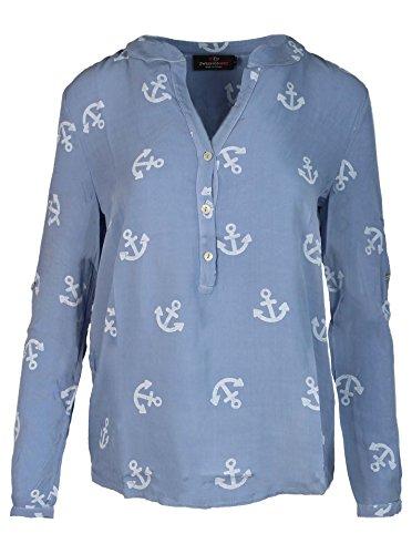 Zwillingsherz Bluse Damen mit Anker - Sommer Hemd - Hochwertige schöne und luftige Tunika/Chiffon Blusen für Frauen - Elegantes Langarm Oberteile T-Shirt - Perfektes Oberteil für jeden Anlass