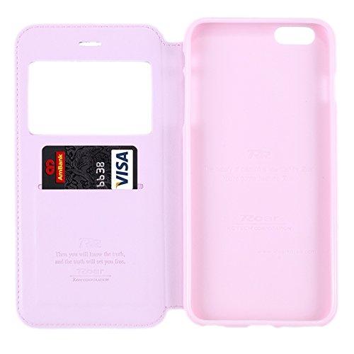 Wkae Case Cover Roar Crazy Horse Textur Ledertasche mit Halter & Karten-Slot & Anrufer-ID-Anzeige für iPhone 6 & 6S ( Color : Purple ) Pink