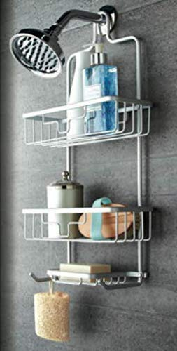 Premium Shower Caddy, Never Rust Aluminium Satin Chrome Finish - Hanging Over Shower Head Tidy Organiser with 2 Shelves and Soap Holder - Rack Comes with Suction Cups for Extra Stability