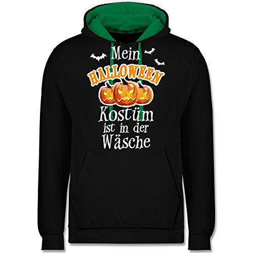 Shirtracer Halloween - Mein Halloween Kostüm ist in der Wäsche - L - Schwarz/Grün - JH003 - Kontrast Hoodie