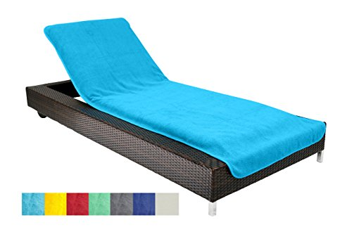brandsseller Lounger Cover Beach Towel Pool Outdoor Chair Lounger 100% Cotton appx. 75x200 cm - Color Turquoise