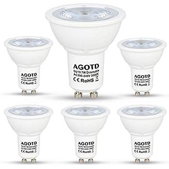 AGOTD Bombillas LED GU10 Regulable 7w Blanco Cálido, Alta Compatibilidad, Sin Parpadeo, Sin Ruido, 3000K, 560Lm, Lampara Halogenos Equivalentes a 50 Watt, ...