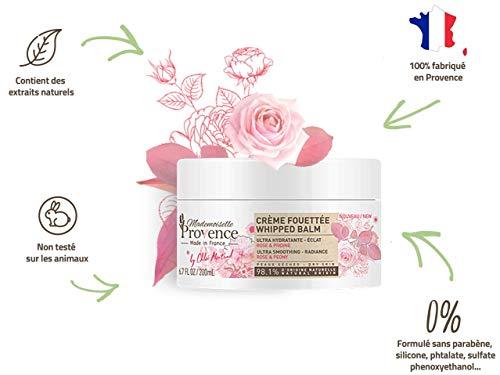 Mademoiselle Provence Crème Fouettée ultra hydratante pour le Corps Rose & Pivoine - 98.1% d'origine naturelle - Spéciale peaux sèches - Made in France