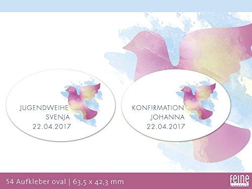 Konfirmation, Kommunion, Jugendweihe 54 Aufkleber oval mit Friedenstaube, personalisierbar