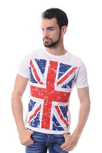 S-Ponder Herren T-Shirt Gr. Large, Weiß - Weiß (T-shirt Flag Art-union Jack)