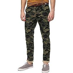 Italy Morn Hombres Chino Pantalones De Color Caqui Del Ajustado De Los Pantalones Del Estiramiento De La Tela De Sarga De Algodón M Camuflaje