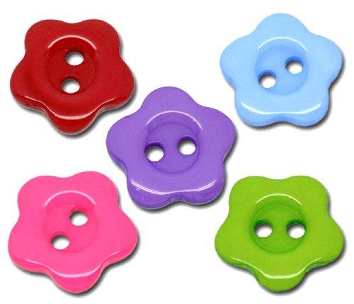 100x Flores Forma 14mm botones con 2agujeros de costura. Para la ropa de costura, tejer, artes y oficios., plástico, mixto, 14 mm