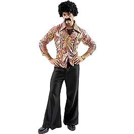ORION COSTUMES Costume da uomo travestimento pantaloni a zampa di elefante e camicia da hippie stile disco dance anni…