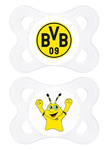 MAM 67548500 – Schnuller, Bundesliga, Football Borussia Dortmund 0-6 Monate, Silikon, Doppelpack