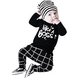 ropa bebe niño invierno 2017 Switchali otoño recien nacido Bebé Niña manga larga Camisetas moda blusas + Pantalones largos Conjuntos de ropa para Unisex bebe (60 (0~3meses), Negro)