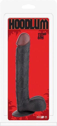 NMC Realistic Dong with Scrotum, 11 inch - realistischer Dildo in Penis Form mit Hoden und kräftigem Saugnapf - schwarz - circa 29 cm lang, Durchmesser bis circa 45 mm