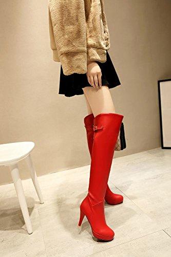 Mee Shoes Damen Reißverschluss Trichterabsatz Plateau langschaft Stiefel Rot