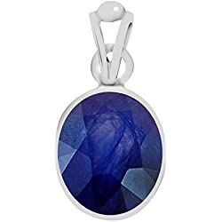 Clara Certified Blue Sapphire (Neelam) 5.5cts or 6.25ratti Silver Pendant For Men & Women