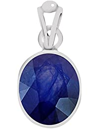 Clara Certified Blue Sapphire (Neelam) 7.5cts or 8.25ratti Silver Pendant for Men & Women