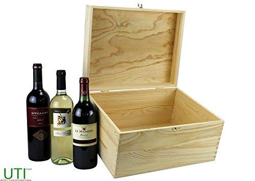 UTI GmbH Weinkiste mit Klappdeckel (340 x 260 x 178 mm L/B/H Innen) - Weinbox für 6 Flaschen...