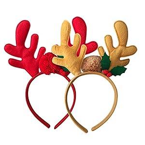 Minkissy 2 piezas diademas navideñas