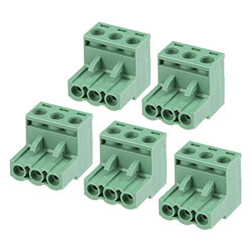 ZCHXD 5Pcs AC300V 15A 5.08mm Pitch 3P Flat Angle Needle Seat Insert-In PCB Terminal Block Connector green Flat Terminals